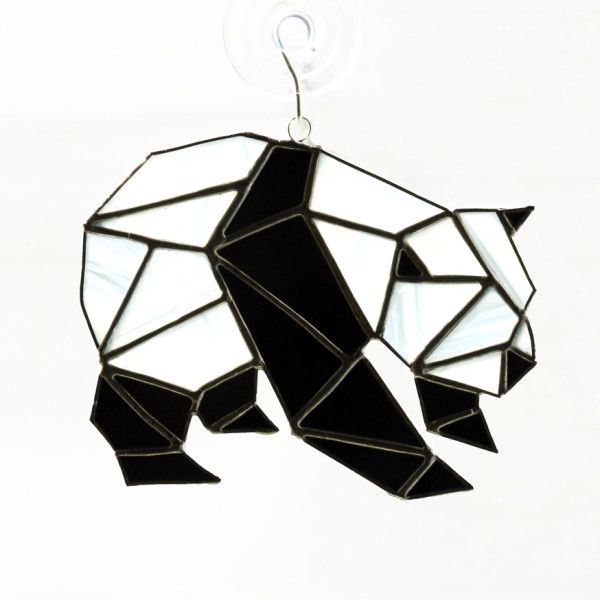 Geometric panda bear sun catcher awesome sauce designs vancouver stained glass classes